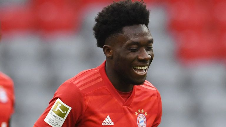 Alphonso Davies scored Bayern Munich's fourth goal against Frankfurt