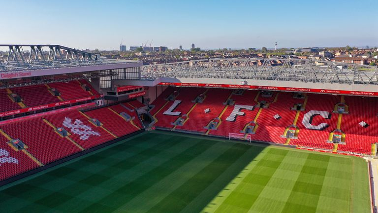 Anfield pictured during the coronavirus (Covid-19) pandemic lockdown