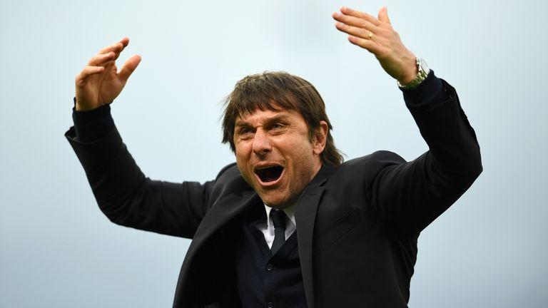 Antonio Conte, Manager of Chelsea celebrates after the Premier League match between Stoke City and Chelsea at Bet365 Stadium on March 18, 2017 in Stoke on Trent, England.