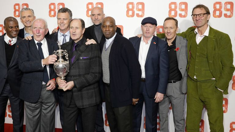 Paul Davis, Alan Smith, Theo Foley, David O'Leary, George Graham, Steve Bould, Michael Thomas, Perry Groves, Lee Dixon and Tony Adams attend the '89' world premiere