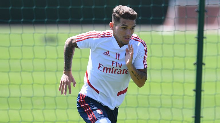 Lucas Torreira of Arsenal during a training session at London Colney on May 30