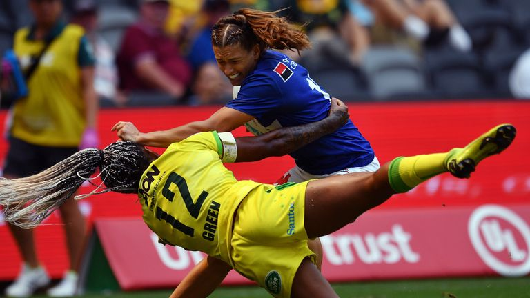 Ellia Green of Australia tackles Lina Guerin of France (R) in their women's match during the Sydney Sevens rugby tournament at Bankwest Stadium in Sydney on February 2, 2020.