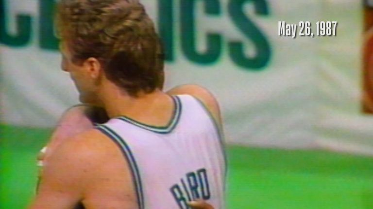 On this day in 1987, Boston's Larry Bird stole an inbounds pass from Detroit's Isiah Thomas as he assisted the winning basket in their game five win in the Eastern Conference Finals.