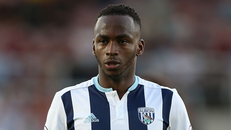 Saido Berahino of West Bromwich Albion in action during the EFL Cup second round match between Northampton Town and West Bromwich Albion