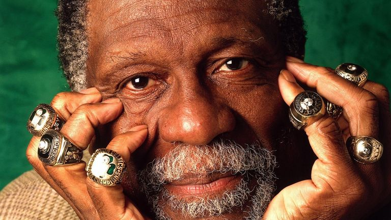Bill Russell shows off his NBA championship rings - credit NBA.com