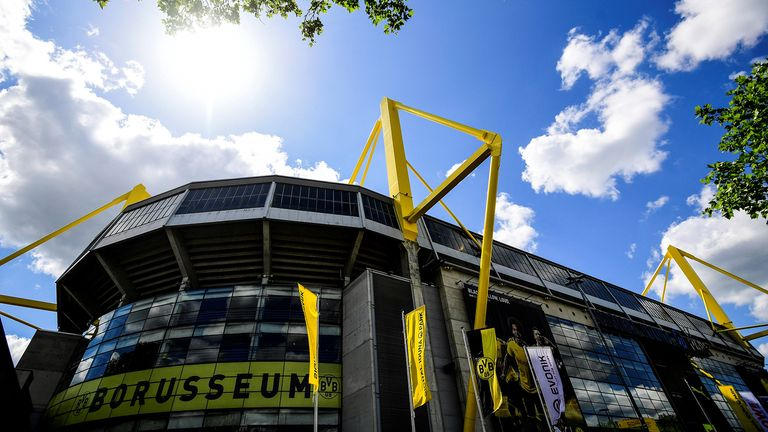 A picture taken on May 14, 2020 shows a view of the Signal Iduna Park stadium of Bundesliga football club Borussia Dortmund in Dortmund, western Germany
