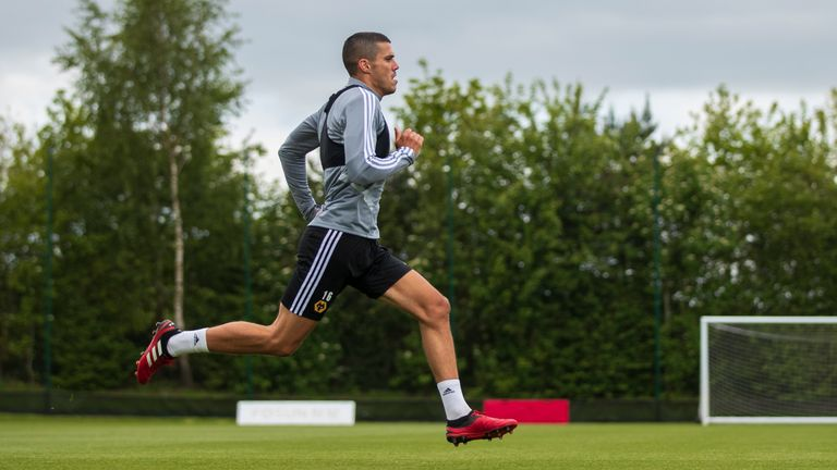 Conor Coady of Wolverhampton Wanderers participates in an isolated fitness session during the COVID-19 lockdown at Sir Jack Hayward Training Ground on May 15, 2020 in Wolverhampton, England.