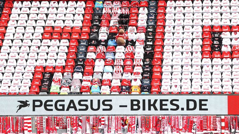 Cologne created a coloured motif using scarfs and shirts lent by supporters