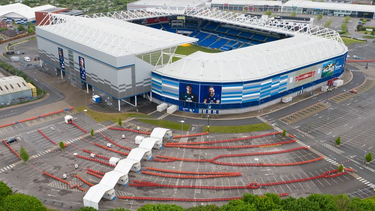 An aerial view of the drive-through coronavirus testing centre at the Cardiff City Stadium