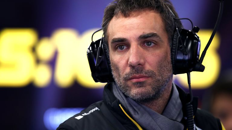 Renault Sport F1 Managing Director Cyril Abiteboul looks on from the garage during day one of Formula 1 Winter Testing at Circuit de Barcelona-Catalunya on February 19, 2020 in Barcelona, Spain.
