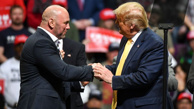 COLORADO SPRINGS, CO - FEBRUARY 20: Ultimate Fighting Championship president Dana White greets President Donald Trump on stage during a Keep America Great rally on February 20, 2020 in Colorado Springs, Colorado. Vice President Mike Pence and Sen. Cory Gardner, a first-term Republican up for reelection this year, joined Trump at the rally. (Photo by Michael Ciaglo/Getty Images)