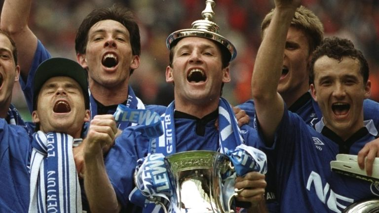 Watson and the Everton team celebrate with the FA Cup at Wembley