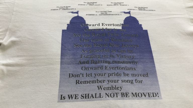 Everton's run to Wembley is charted on the back as well as a call to arms