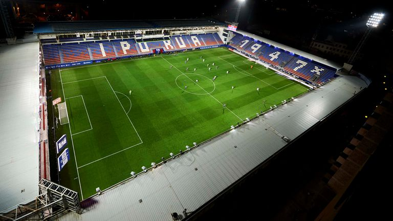 A general view of the empty stadium as fans cannot attend the match due to the medical emergency Covid-19 (Coronavirus) during the Liga match between SD Eibar SAD and Real Sociedad at Ipurua Municipal Stadium on March 10