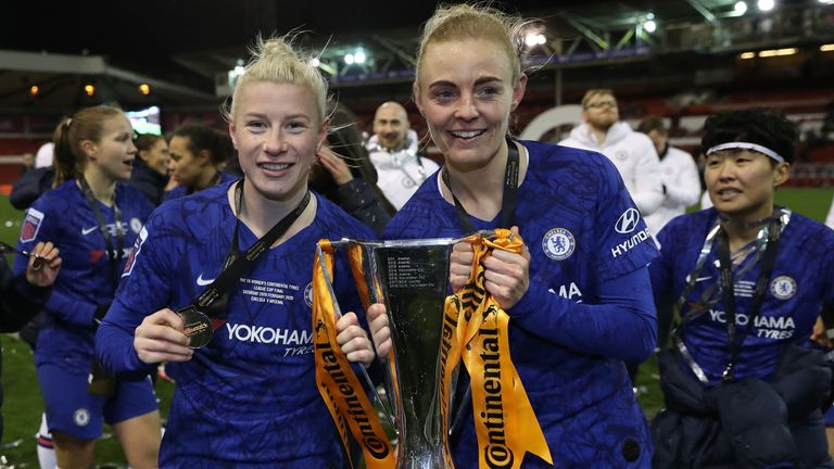 Bethany England and Sophie Ingle of Chelsea celebrate with the FA Women's Continental League Cup