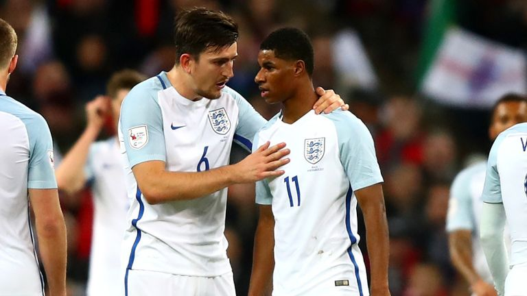 Harry Maguire and Marcus Rashford playing for England