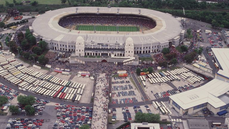 An aerial view of Wembley's famous twin towers ahead of the 1995 FA Cup final