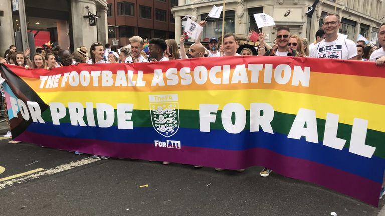 The Football Association marched in the Pride In London parade for the first time in July 2019