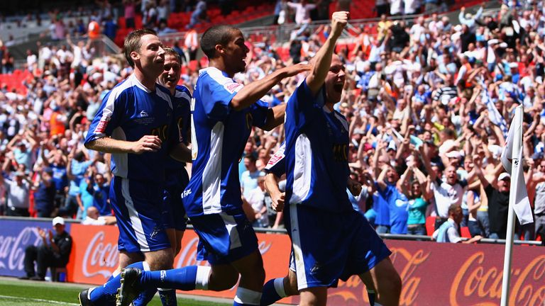 Alexander celebrates scoring - but it wasn't enough to secure promotion for Millwall