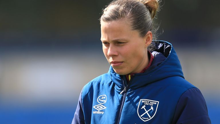 Gilly Flaherty of West Ham Ladies takes a look at the pitch prior to the Women's FA Cup Semi Final match between Reading Women and West Ham United Ladies at Adams Park on April 14, 2019 in High Wycombe, England