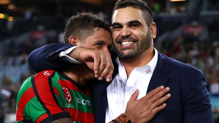 Greg Inglis (right) initially retired last year due to ongoing injury problems