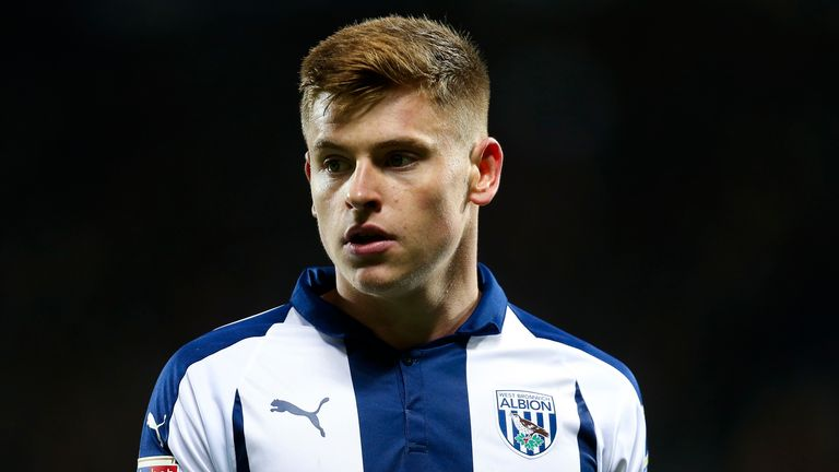 Leicester's Harvey Barnes during his loan stay at West Brom