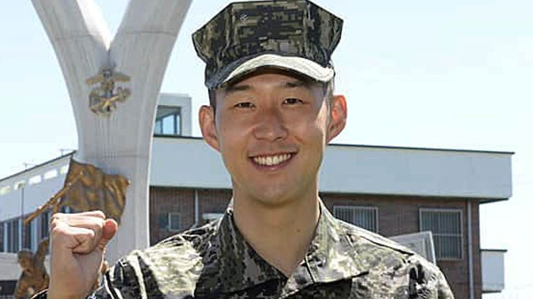 Heung-Min Son began his three-week basic training on April 20