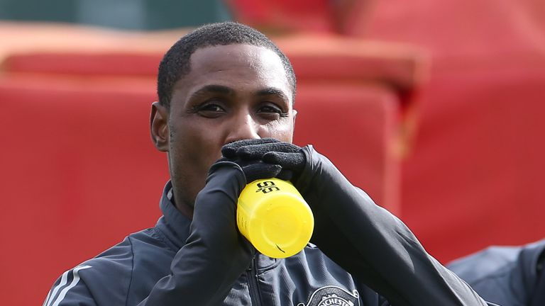 Odion Ighalo of Manchester United in action during a first team training session at Aon Training Complex on March 11, 2020 in Manchester, England.