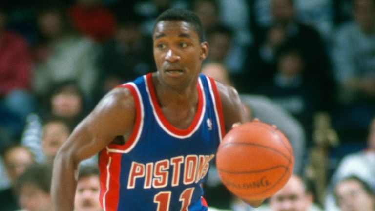 Isiah Thomas attacks off the dribble for the Detroit Pistons