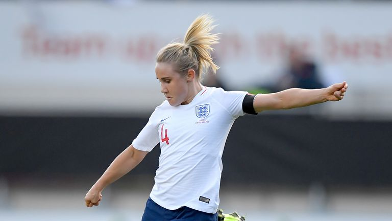 Izzy Christiansen of England Women during the International Friendly Women match between England v Sweden at the Aesseal New York Stadium on November 11, 2018 in Rotherham United Kingdom