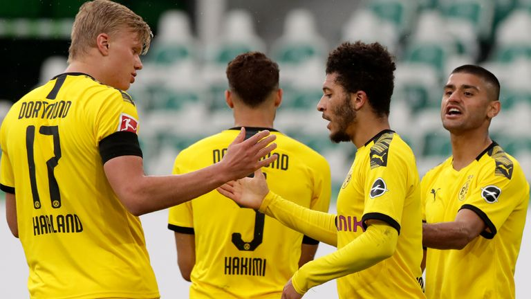 Borussia Dortmund players celebrate Achraf Hakimi's goal, with Jadon Sancho providing the assist