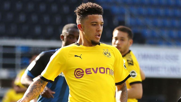 Jadon Sancho made his first Borussia Dortmund start since the Bundesliga's return