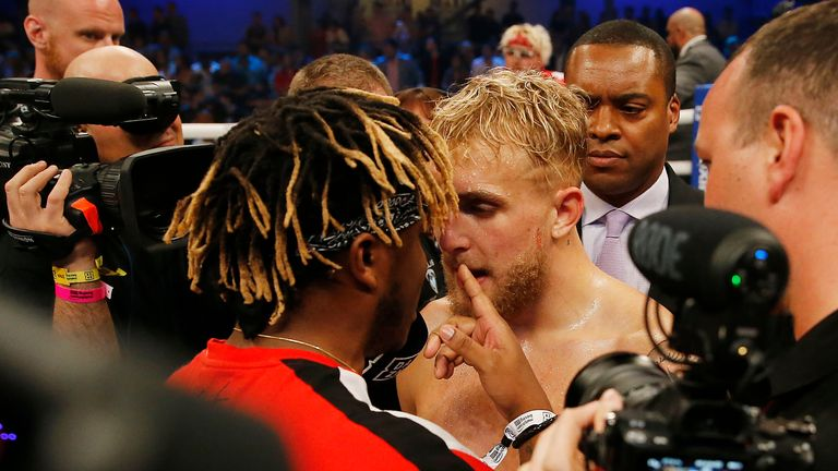 The two came head-to-head after Jake Paul secured a first round knockout against AnEsonGib in January