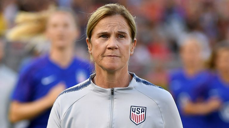 United States women's national soccer team head coach, Jill Ellis, leaves the field before the match against the Republic of Ireland during the first game of the USWNT Victory Tour at Rose Bowl on August 03, 2019 in Pasadena, California