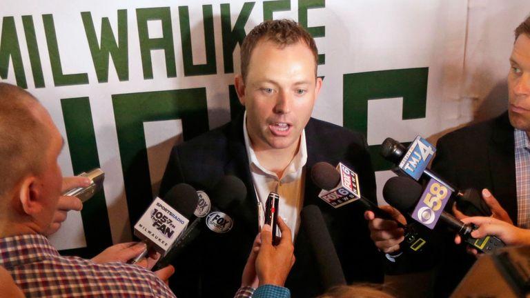 Milwaukee Bucks general manager Jon Horst addresses the media