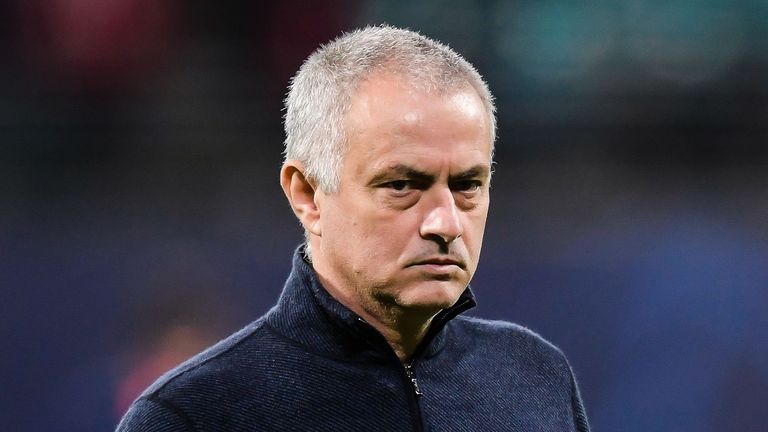 Jose Mourinho of Tottenham Hotspur FC during the UEFA Champions League round of 16 second leg match between Red Bull Leipzig and Tottenham Hotspur FC at the Red Bull Arena on March 10, 2020 in Leipzig, Germany