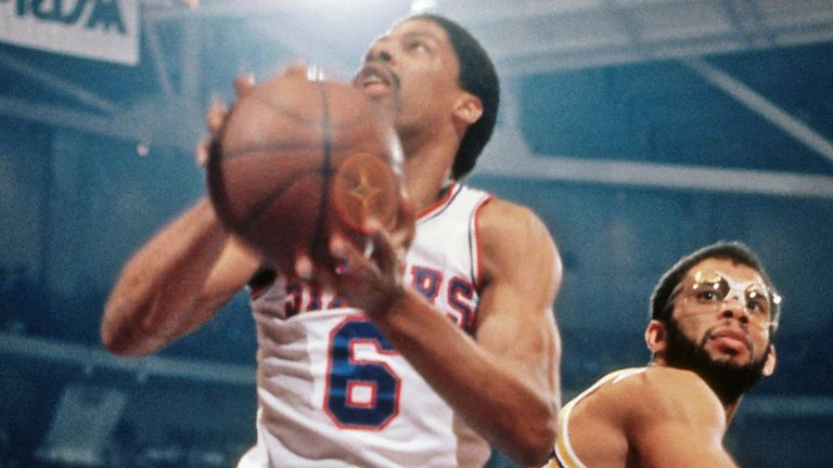 Julius Erving attacks the basketball against the Los Angeles Lakers