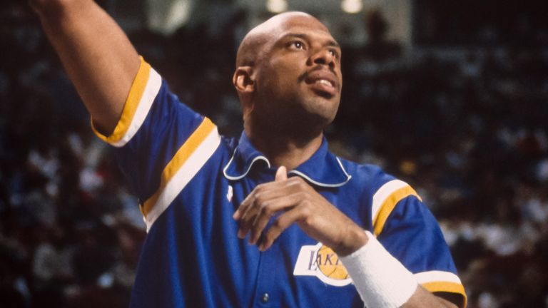 Kareem Abdul-Jabbar warms up with a Sky Hook before a 1989 playoff game