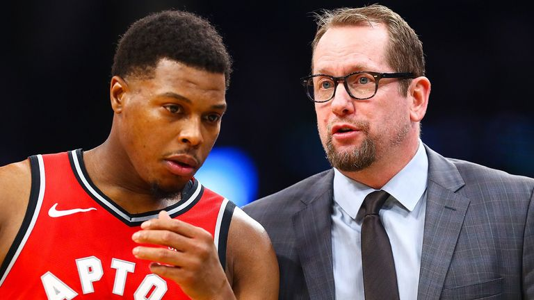 Kyle Lowry and Nick Nurse share strategy during a Raptors game