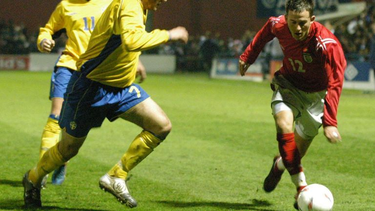 Nix playing for the England U18 side against Sweden at York