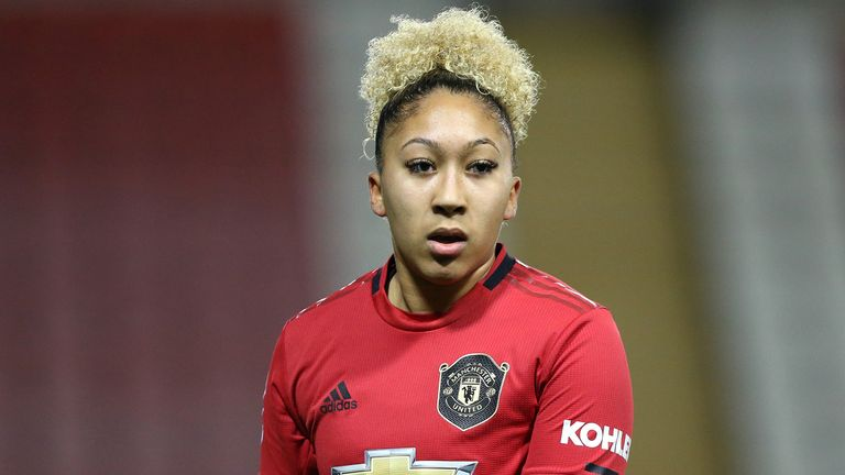 Lauren James of Manchester United reacts during the FA Women's Continental League Cup Semi-Final match between Manchester United Women and Chelsea FC Women at Leigh Sports Village on January 29, 2020 in Leigh, England.