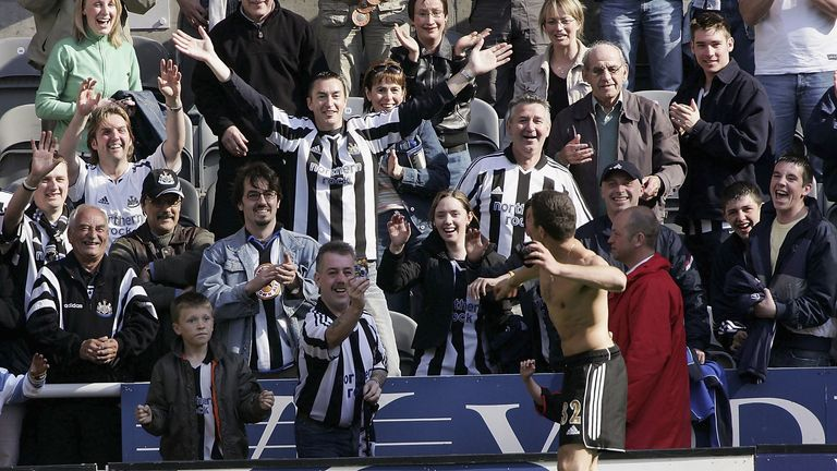 Laurent Robert throws his kit to the Newcastle crowd in 2005