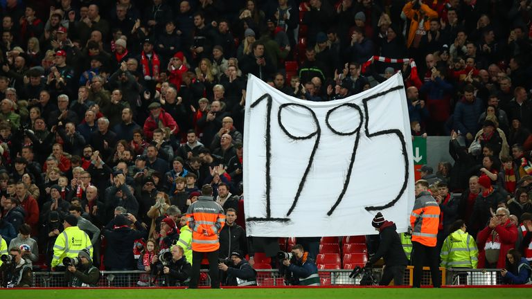 Liverpool fans taunt their Merseyside rivals at this year's FA Cup tie
