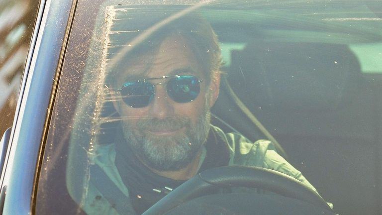 Jurgen Klopp arrives at Melwood in Liverpool, north west England to resume training on May 20, 2020, as training resumes after the Premier League was halted due to the COVID-19 pandemic.