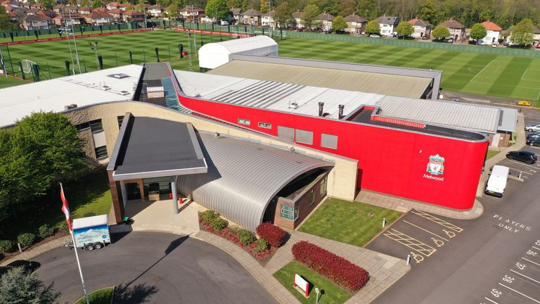 Aerial shot of Melwood, Liverpool's training ground.