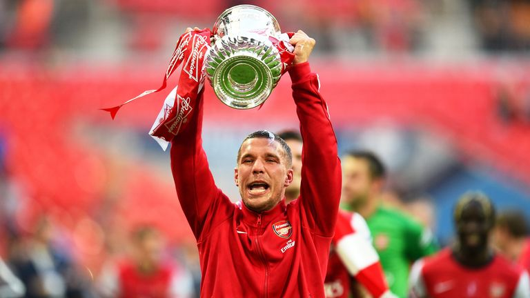 Lukas Podolski during the FA Cup with Budweiser Final match between Arsenal and Hull City at Wembley Stadium on May 17, 2014 in London, England.