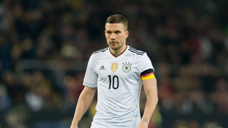 Podolski made his last international appearance against England in a friendly in 2017