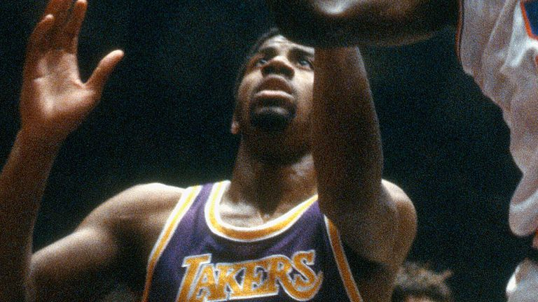 Magic Johnson in action against the Philadelphia 76ers in the 1980 NBA Finals