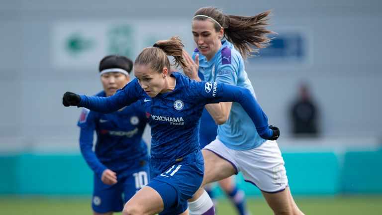 MANCHESTER, ENGLAND - FEBRUARY 23: Guro Reiten of Chelsea and Jill Scott of Manchester City in action during the Barclays FA Women's Super League match between Manchester City and Chelsea at The Academy Stadium on February 23, 2020 in Manchester, United Kingdom. (Photo by Visionhaus) *** Local Caption *** Guro Reiten; Jill Scott