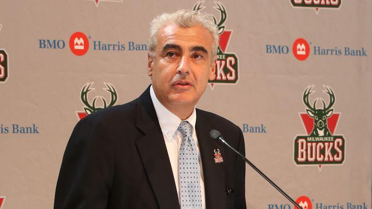 Milwaukee Bucks owner Marc Lasry addresses the media